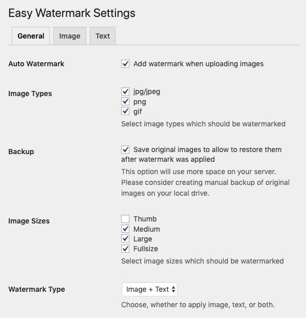 Easy Watermark設定画面