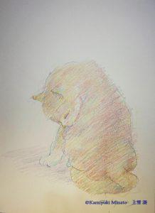メタリックカラー色鉛筆で描いた猫